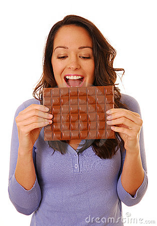 Excited woman with chocolate