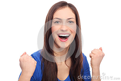 Excited Woman Clenching Fists Royalty Free Stock Photo - Image: 28605285