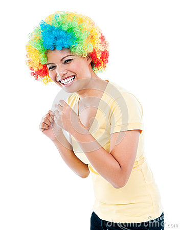Excited Woman In Colorful Wig
