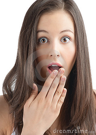 Excited woman covering her mouth