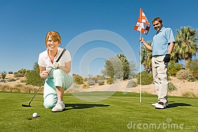 Excited Woman On Golf Club