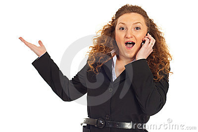 Excited woman with great news at cellphone