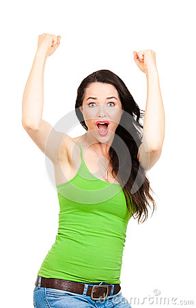 Excited woman with hands in the air