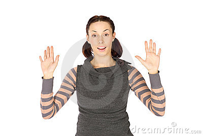 Excited Woman in Hands Up Pose