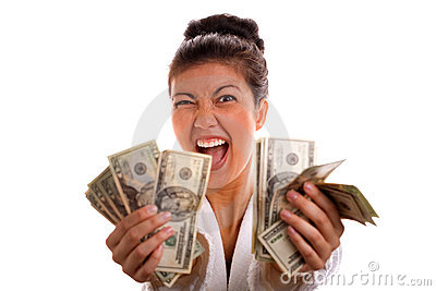 Excited Woman Holding Cash