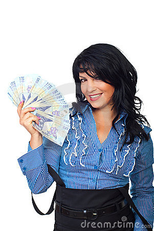 Excited woman holding Romanian banknotes