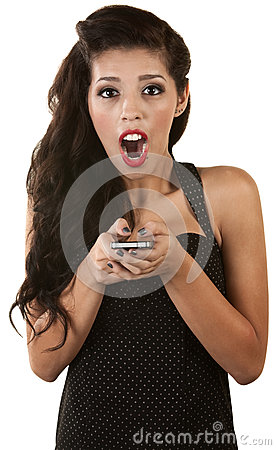 Excited Woman with Phone