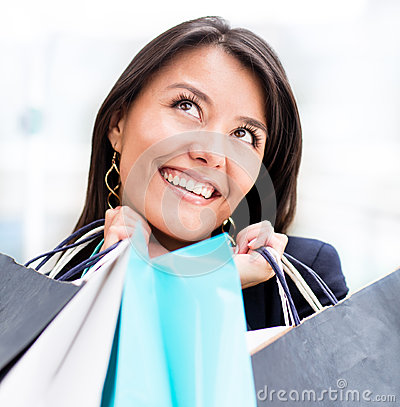 Excited woman shopping