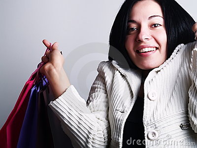 Excited woman at shopping