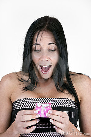 Excited woman with small box