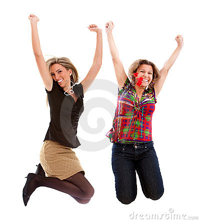 Excited women jumping