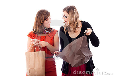 Excited women shopping