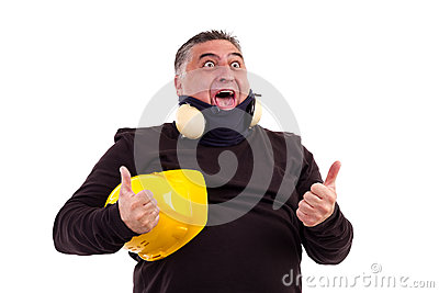 Excited worker screaming