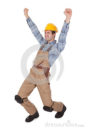 Excited worker wearing hard hat