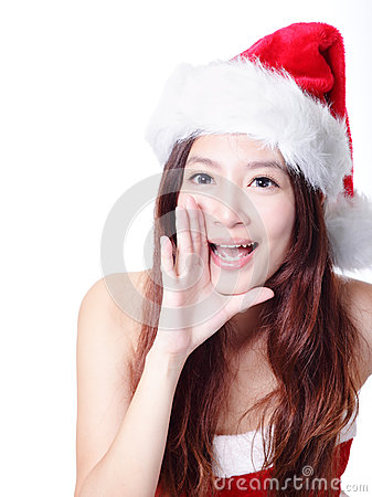 Excited Xmas girl shouting to you