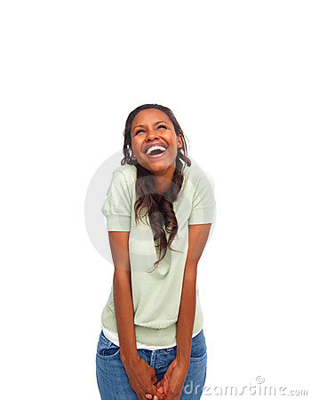Excited young African American isolated over white