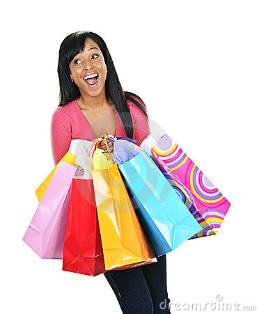 Free Excited Young Black Woman With Shopping Bags Royalty Free Stock Photography - 17215417