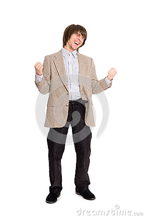 Excited young business man