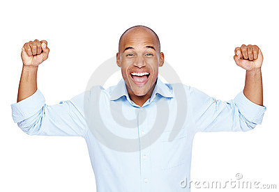Excited young business man celebrating success