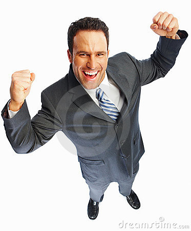 Excited young business man over white