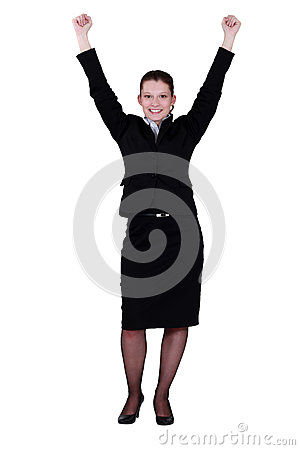 Excited young businesswoman