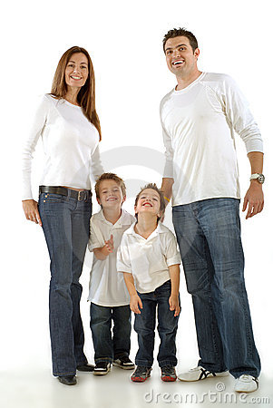 Excited young family