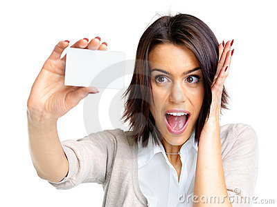 Excited young female holding a small blank card