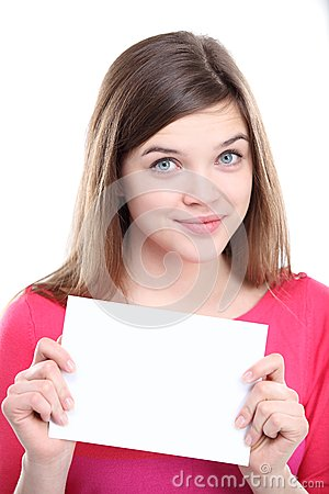 Excited young female showing empty blank paper