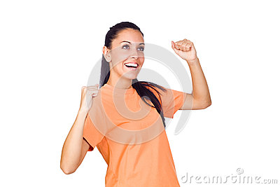 Excited Young Girl Smiling with Hands Raised