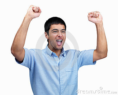 Excited young guy with hands raised