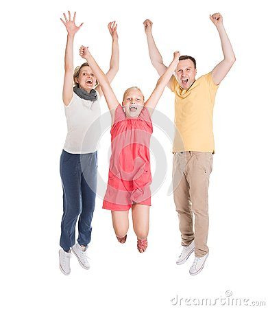 Free Excited Young Happy Family Jumping Stock Photos - 46361963