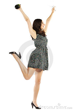 Excited young woman celebrating
