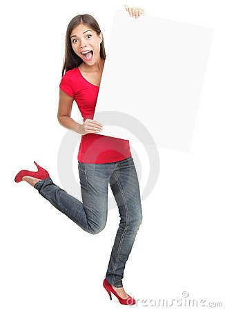 Excited young woman holding empty white board