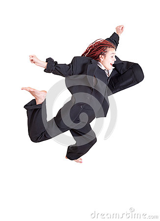 Excited young woman jumping or running