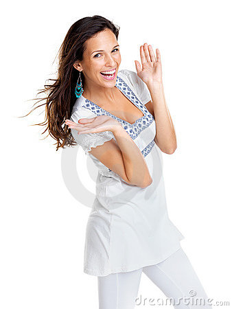 An excited young woman posing