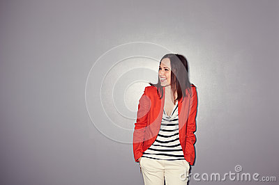 Excited young woman posing
