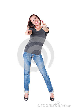 Excited young woman showing thumbs up