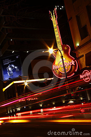 Exciting Atlanta - Hard Rock Cafe at Night Editorial Photography