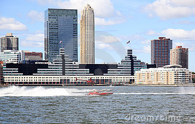 The exciting speed boat racing on Hudson River Editorial Photography