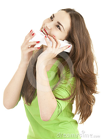 Exciting young woman speaking on the phone