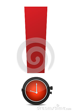 Exclamation and watch illustration design