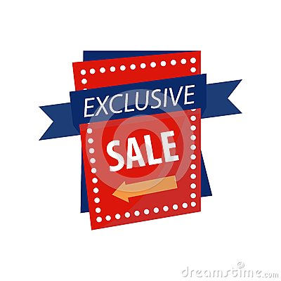 Free Exclusive Sale Sign On Bright Rectangular Promotional Banner Stock Images - 93785644