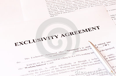 Exclusivity agreement form with pen