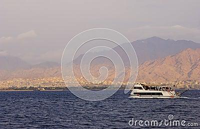 Excursion boat in a sea