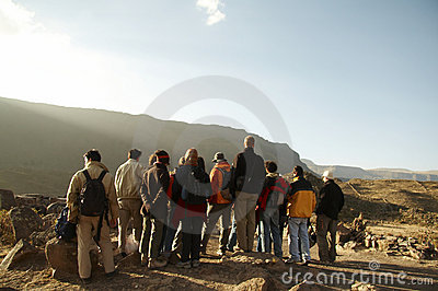 Excursion group in the Andes