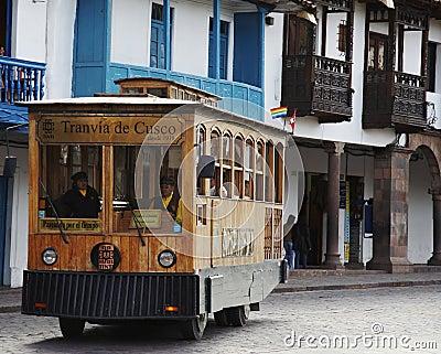 Excursion tram-car in the Cuzco,Peru