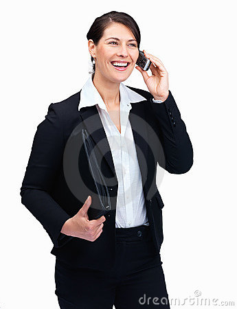 Executive with folder in hand using mobile phone