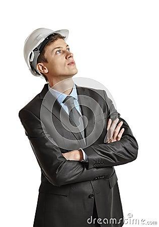 Executive in helmet