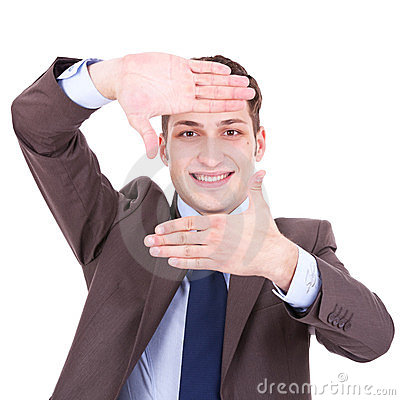 Executive making frame with his hands