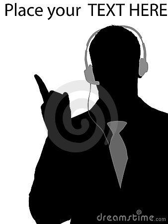 Executive using headphone and pointing